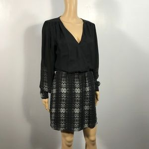 Parker Barney's NY Silk Long Sleeve Dress Keyhole